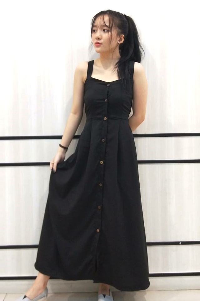 Button Down Maxi Dress Black