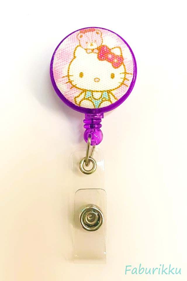 HelloKitty PurpleWithBear Clip-On Badge Reel