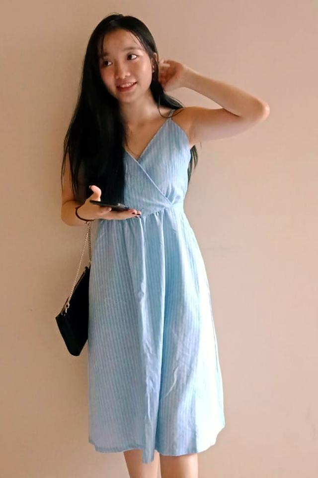 Linen Stripe Wrap Dress SkyBlue