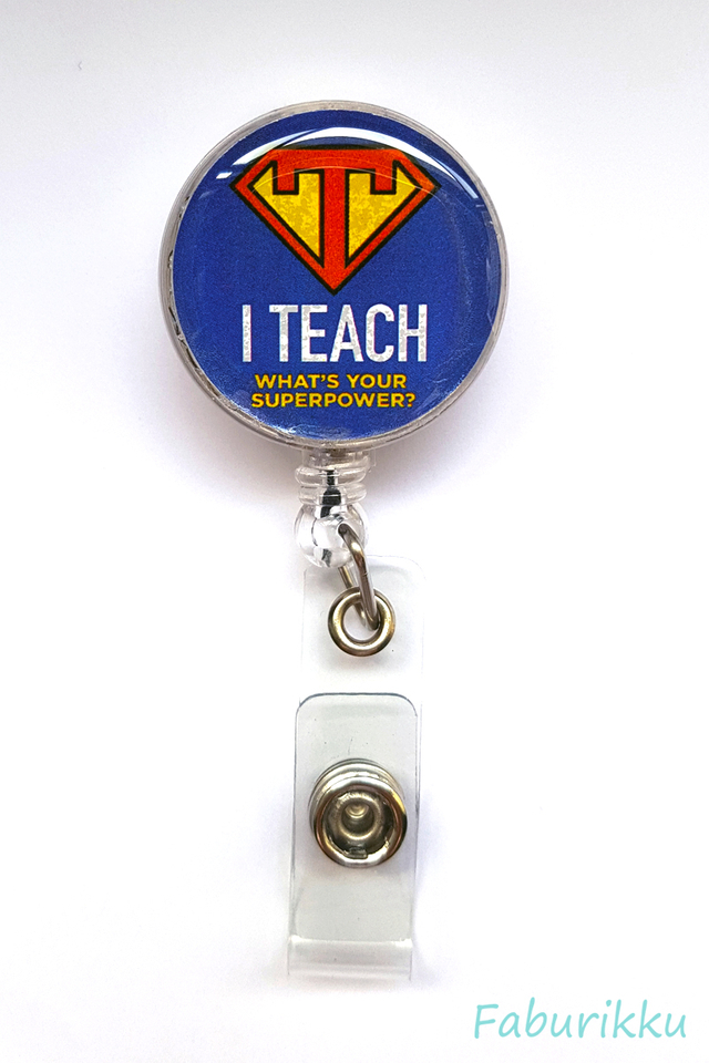 Quotes TeacherSuper Clip-On Badge Reel