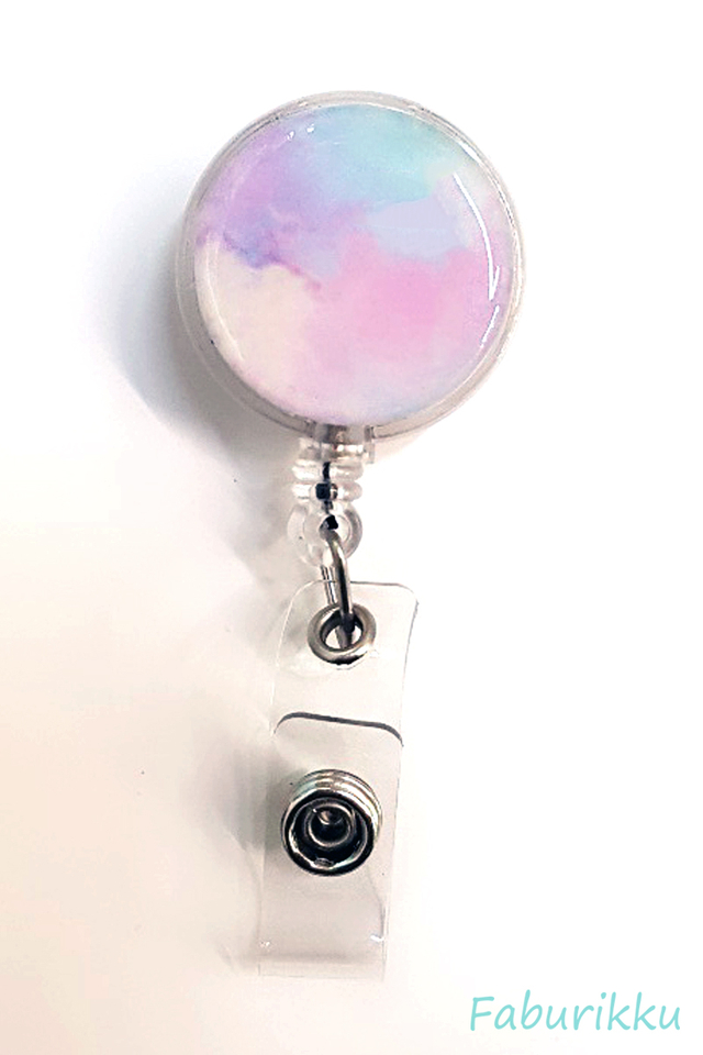 Watercolour Print Rainbow Clip-On Badge Reel