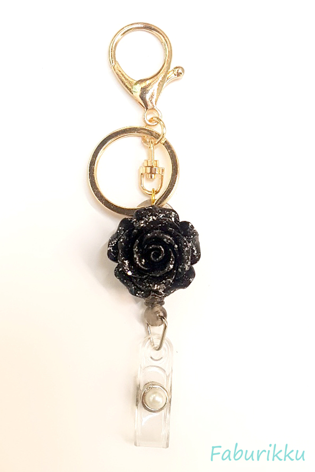3D Rose Black Hook-On Badge Reel