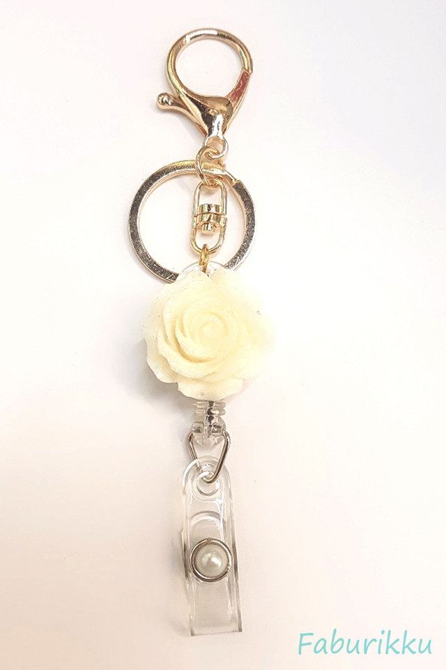3D Rose White Hook-On Badge Reel