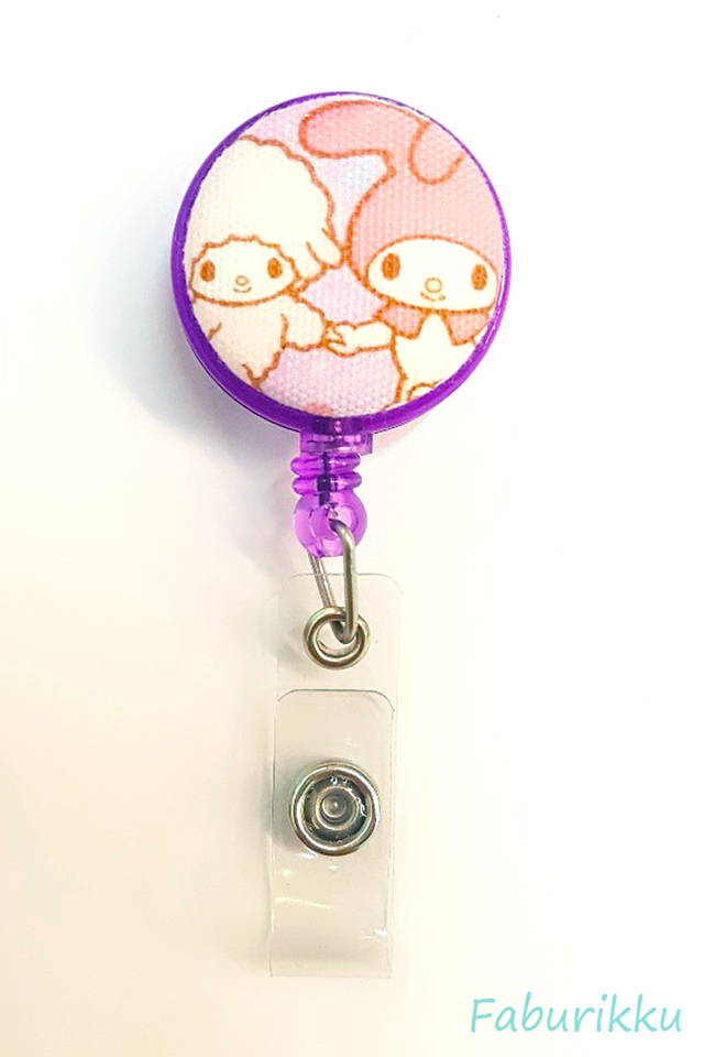 My Melody and Piano Purple Clip-On Badge Reel