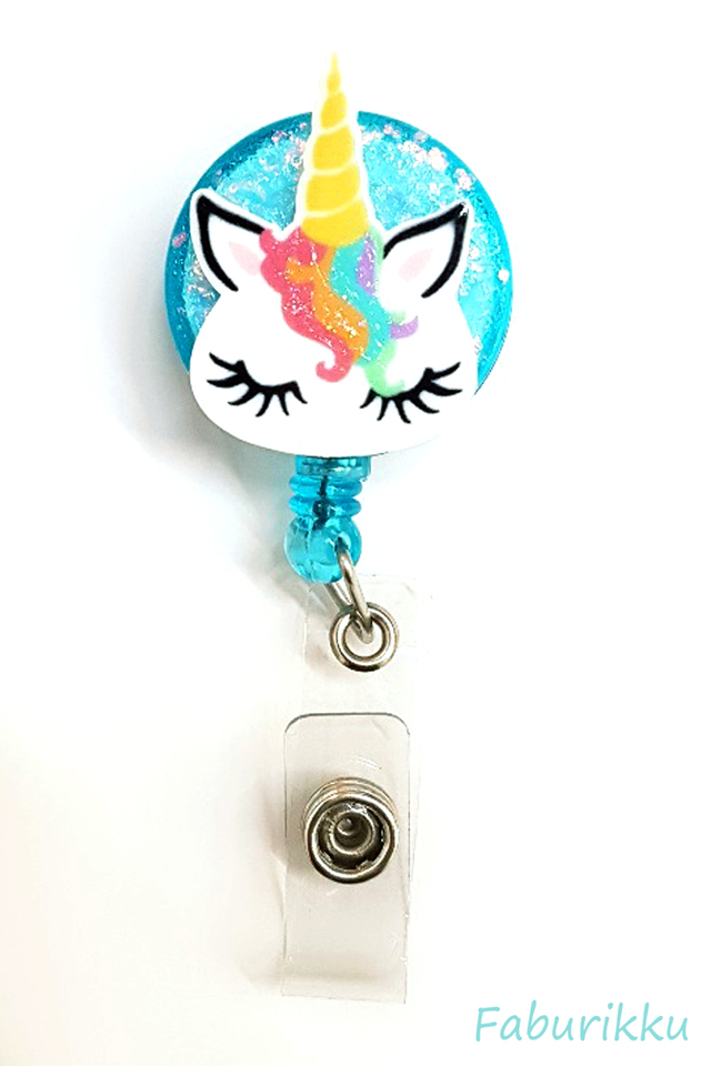 3D Unicorn RainbowMane Turquoise Clip-On Badge Reel