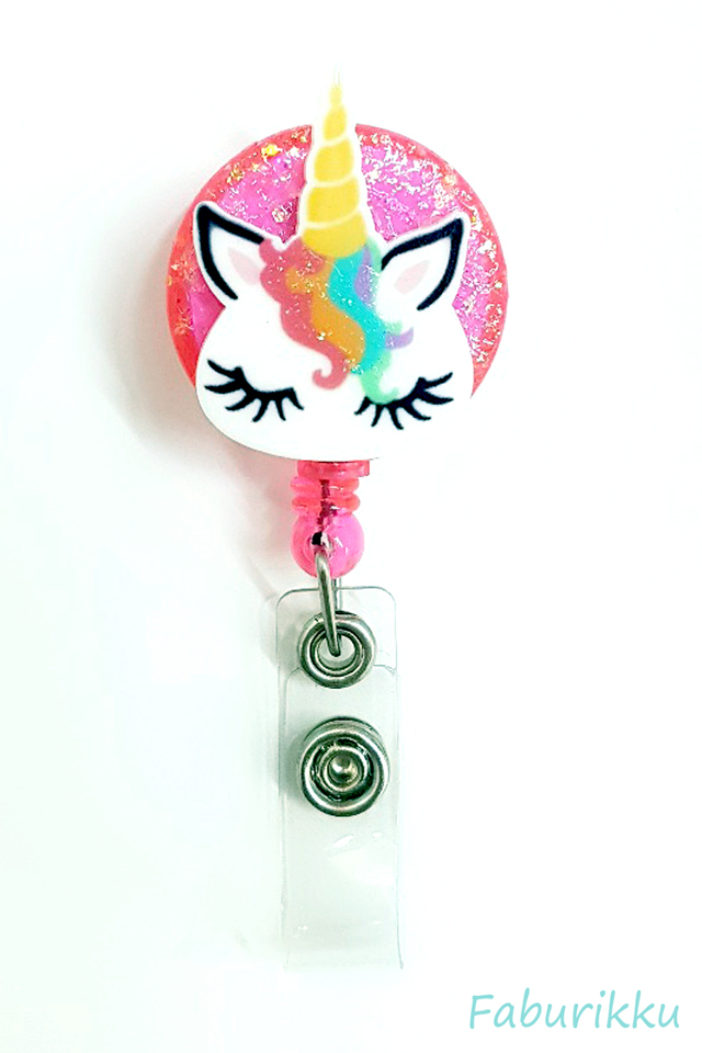 3D Unicorn RainbowMane Pink Clip-On Badge Reel