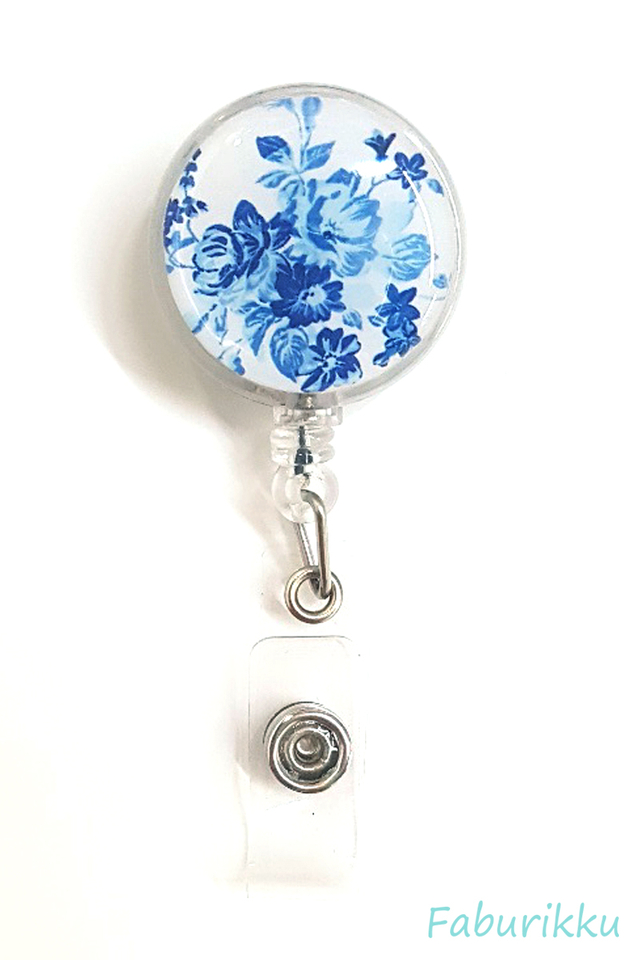Flower Porcelain Clip-On Badge Reel