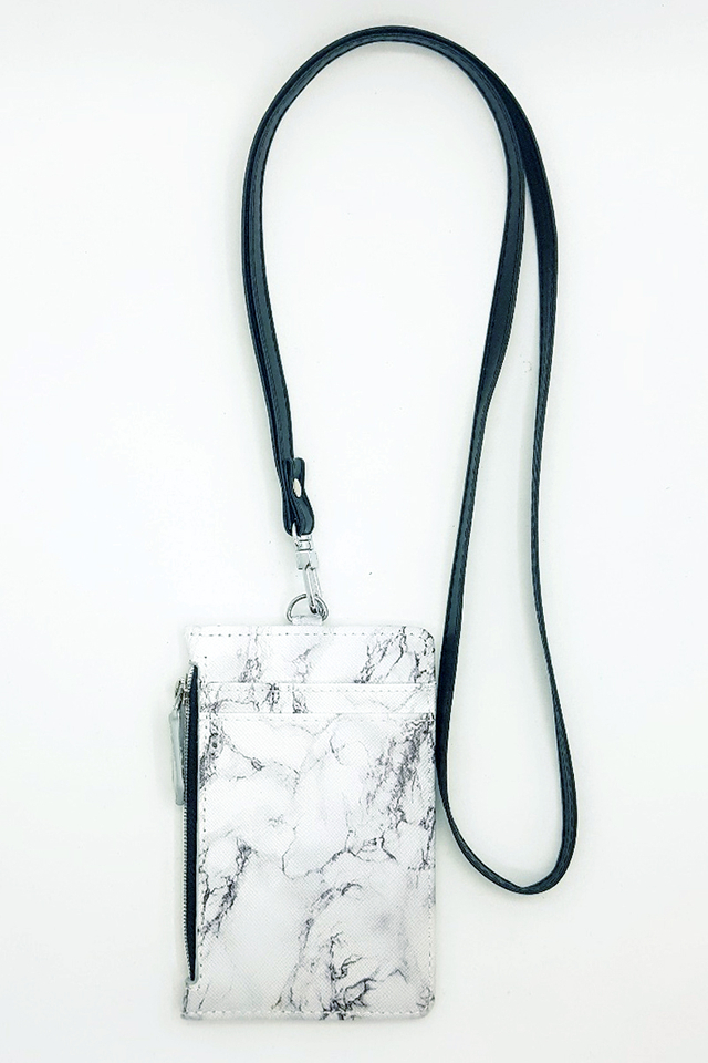 White Marble Zip Cardholder With Black Lanyard Set