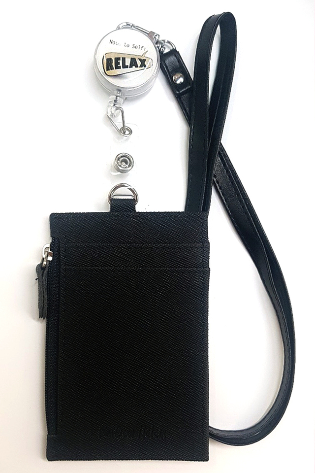 Note To Relax Badge Reel with Black Zip Cardholder and Lanyard Set