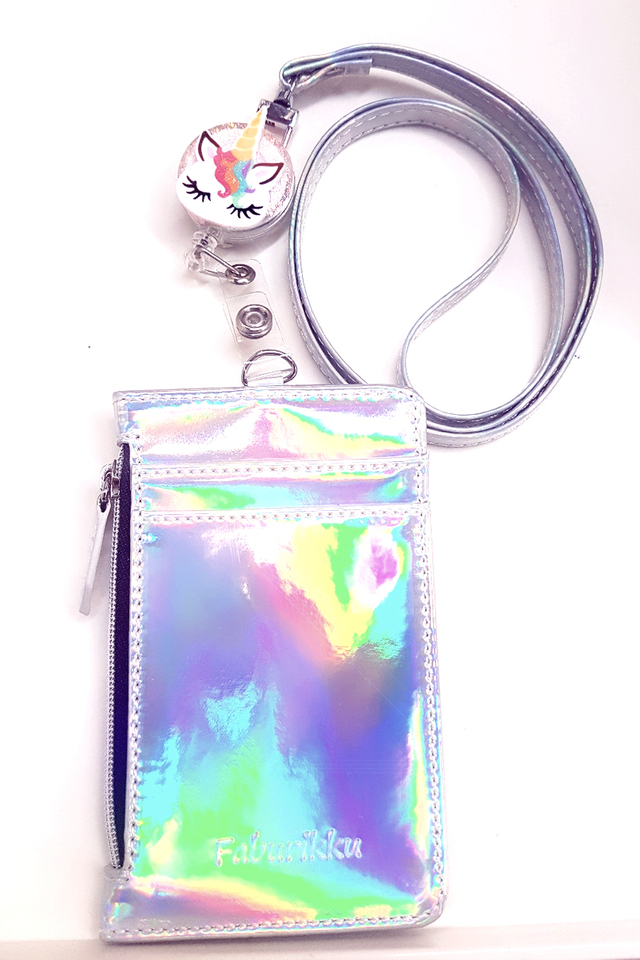 Unicorn Badge Reel with Hologram Zip Cardholder and Lanyard Set