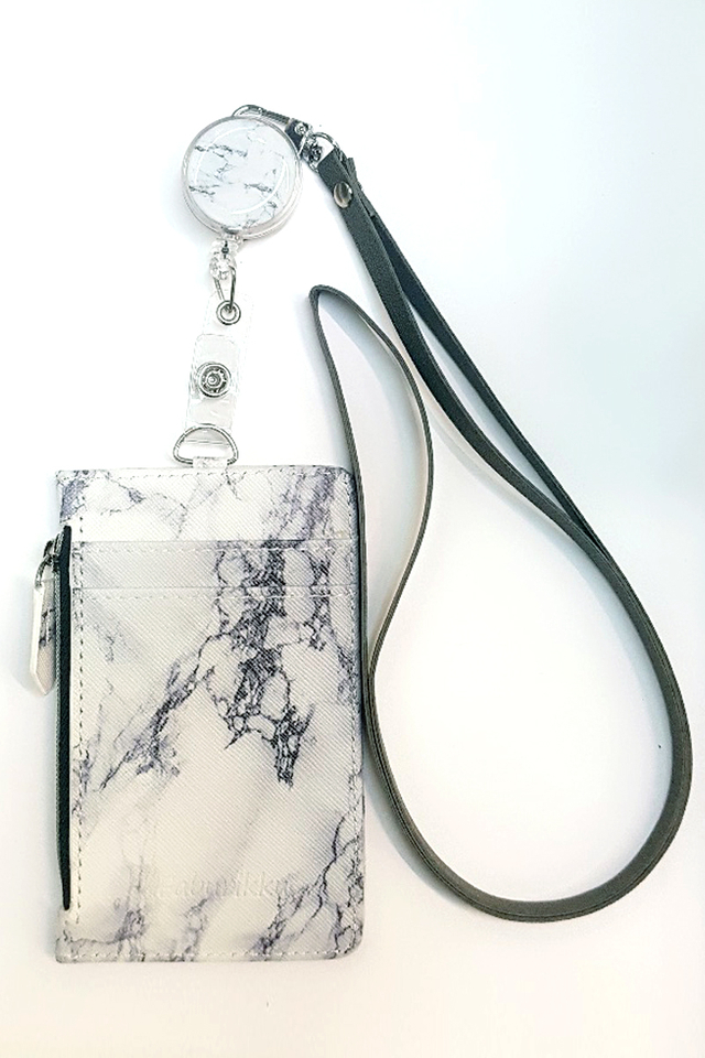 White Marble Badge Reel with Zip Cardholder and Lanyard Set