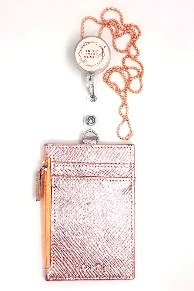 Enjoy Every Moment Badge Reel with Zip Cardholder and Chain Set