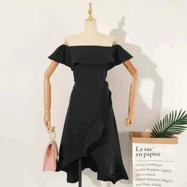 Sashay Off Shoulder Ruffle Dress Black