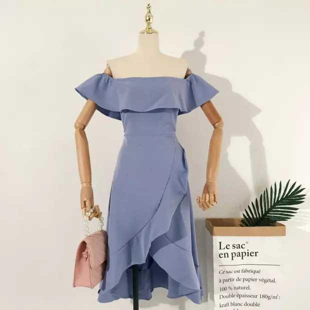 Sashay Off Shoulder Ruffle Dress Periwinkle