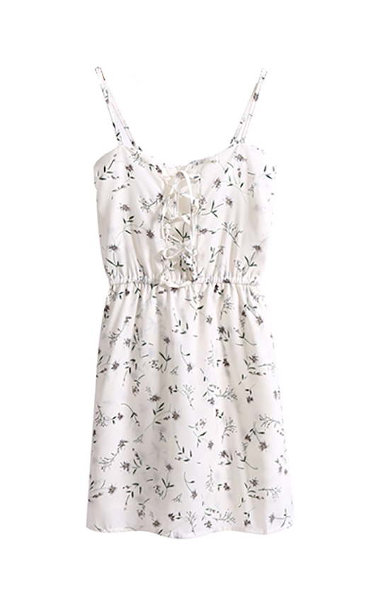 Blossom Lace Up Romper Dress White