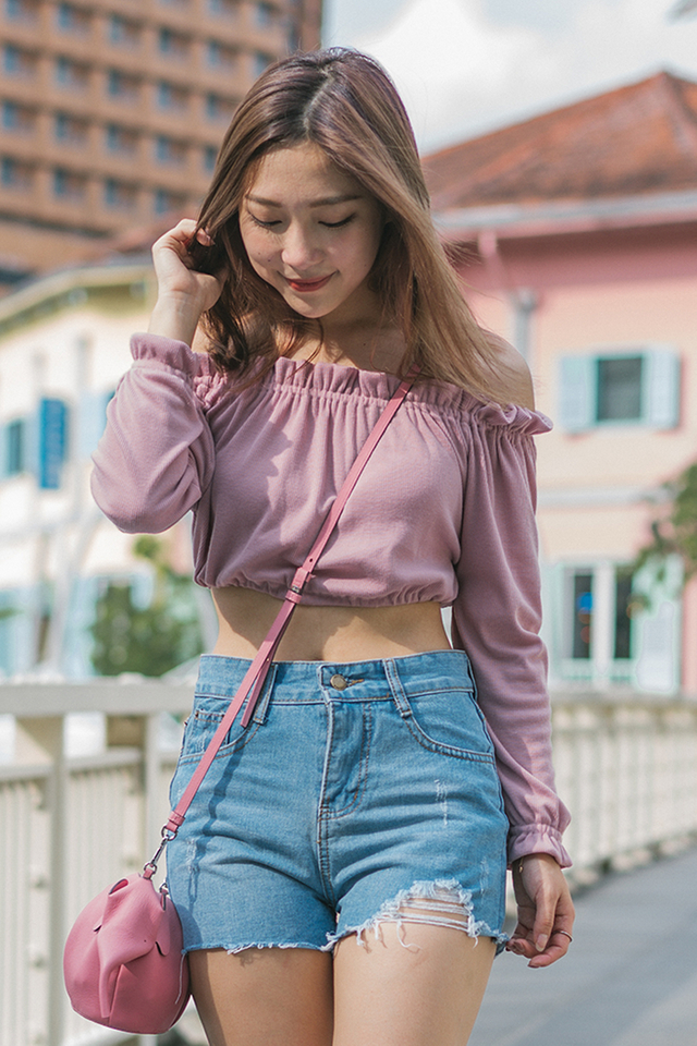 Knit Crop Top Rose Pink