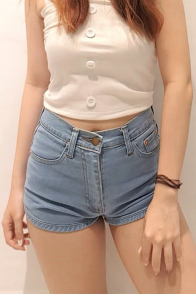 Curve Hem Denim Shorts Light Blue
