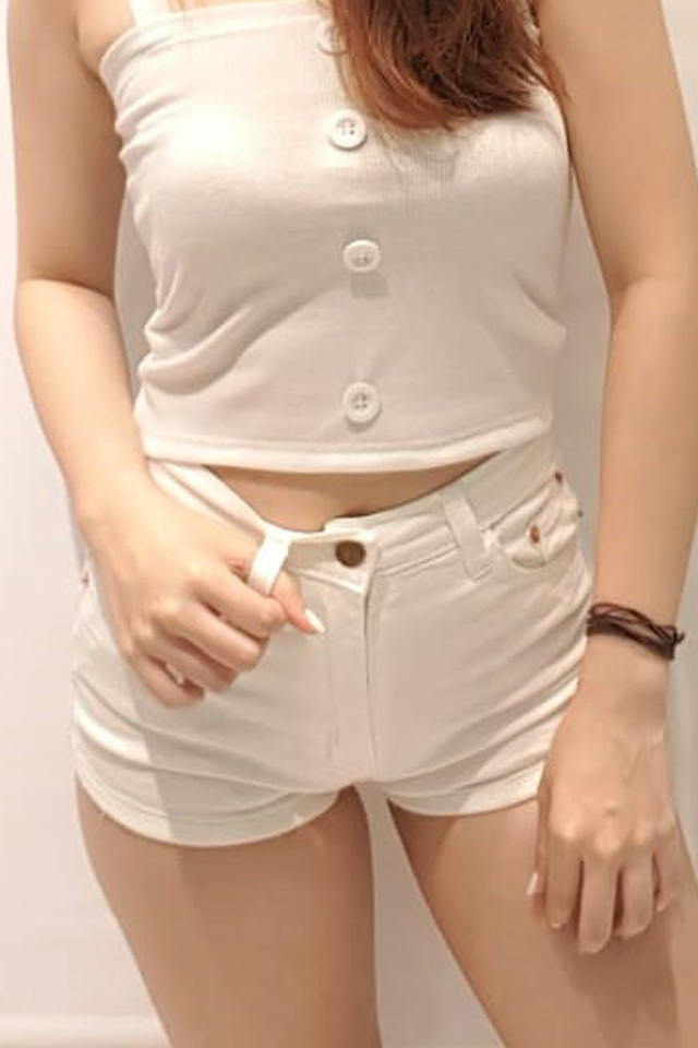Curve Hem Denim Shorts White