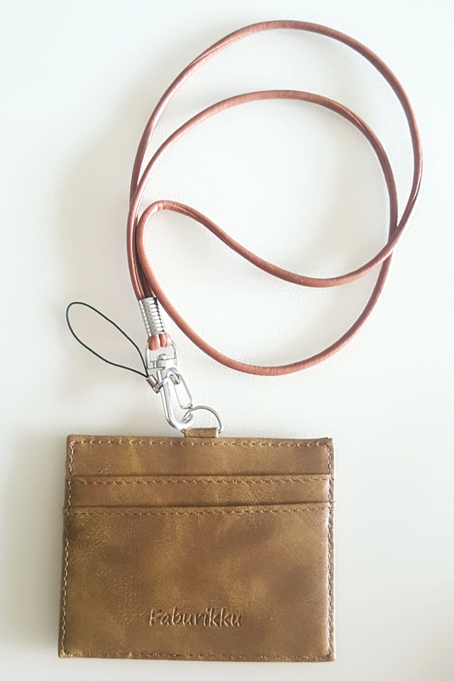 Brown Tone Landscape Cardholder With Round Lanyard
