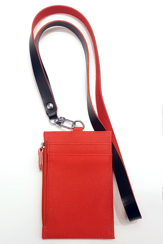 Red Zip Cardholder With Duo Colour Lanyard Set