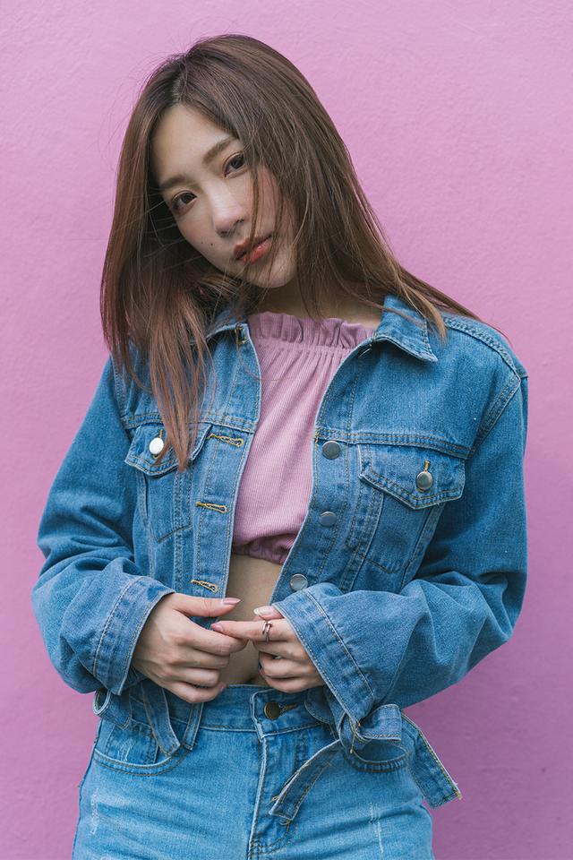 Ruby Ribbon Sleeve Denim Jacket