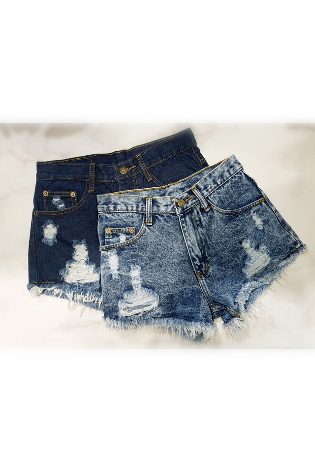 Fray and Rip Denim Shorts (Dark Blue/ Acid Blue)