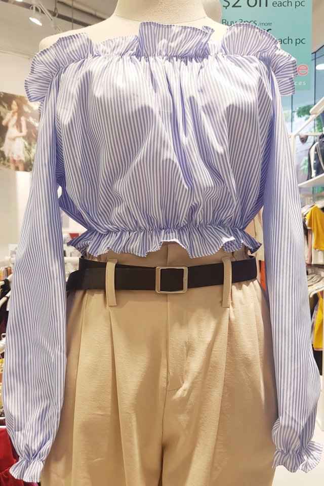 Pin Stripe Off Shoulder Top (4 colours)