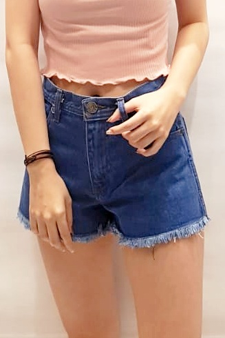 Fray Hem Denim Shorts Mid Blue