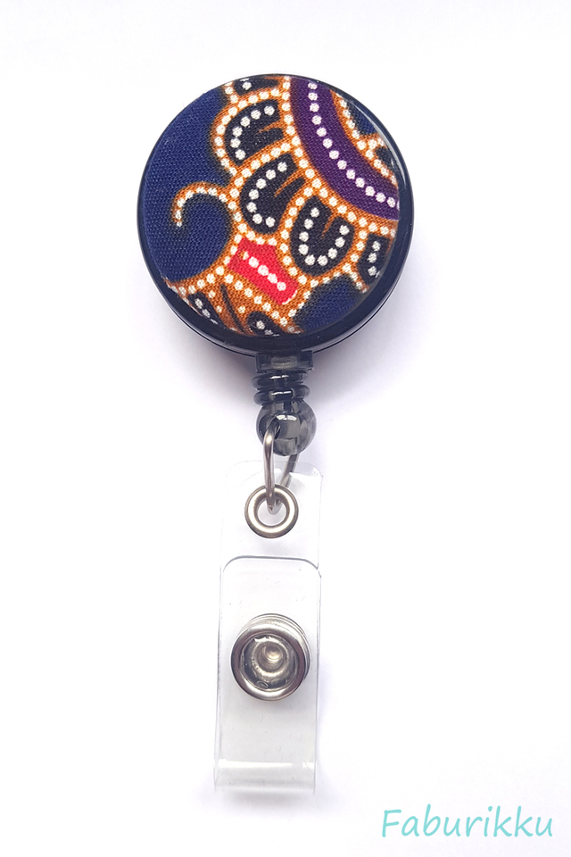 Kebaya Print 2 Black Clip-On Badge Reel