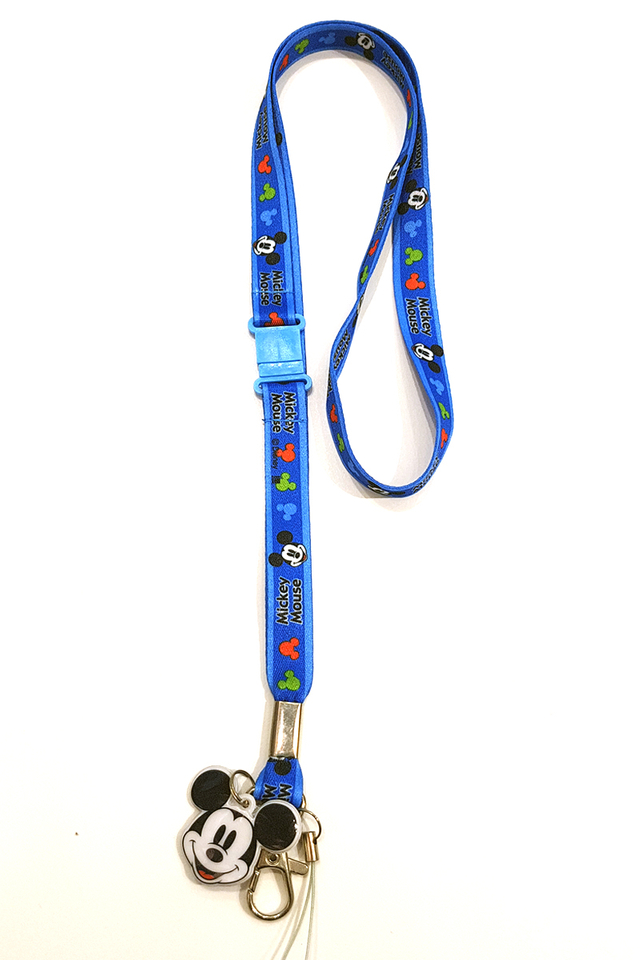 Mickey Blue Soft Nylon Deluxe Lanyard