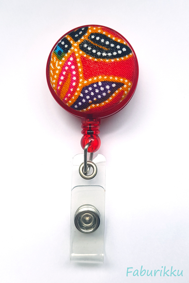 Red Kebaya Print Red Clip-On Badge Reel