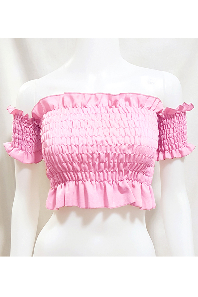 Smocking Crop Top Pink