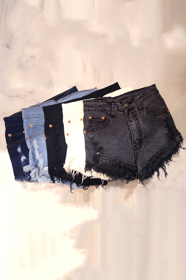 Stretch Rip Denim Shorts (4 Colours)