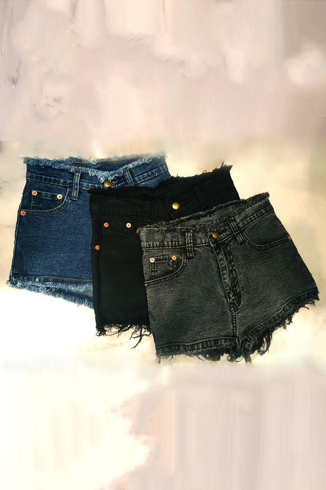 Top Bottom Fray Denim Shorts (Acid Blue, Black, Acid Grey)