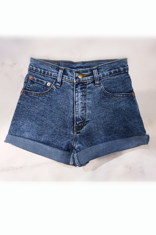Roll Up Denim Shorts Acid Blue