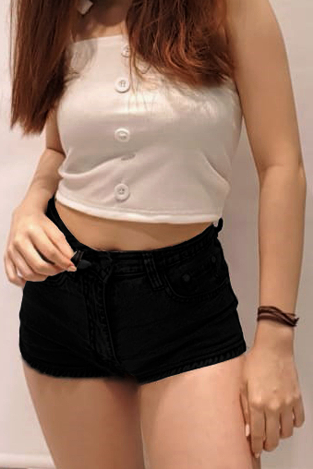 Curve Hem Denim Shorts Black