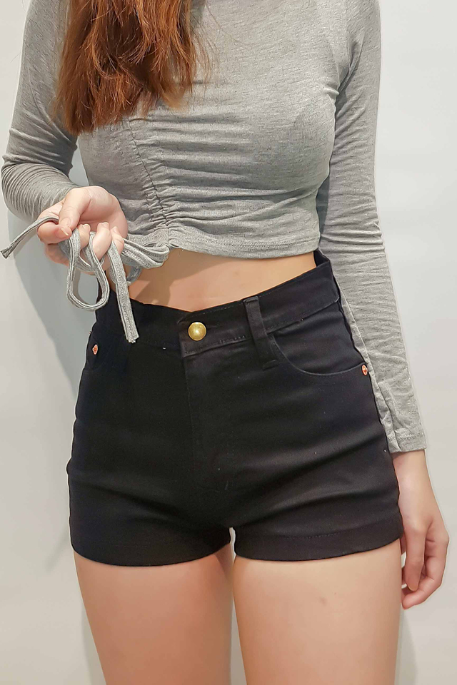 Stretch Straight Denim Shorts (Black)
