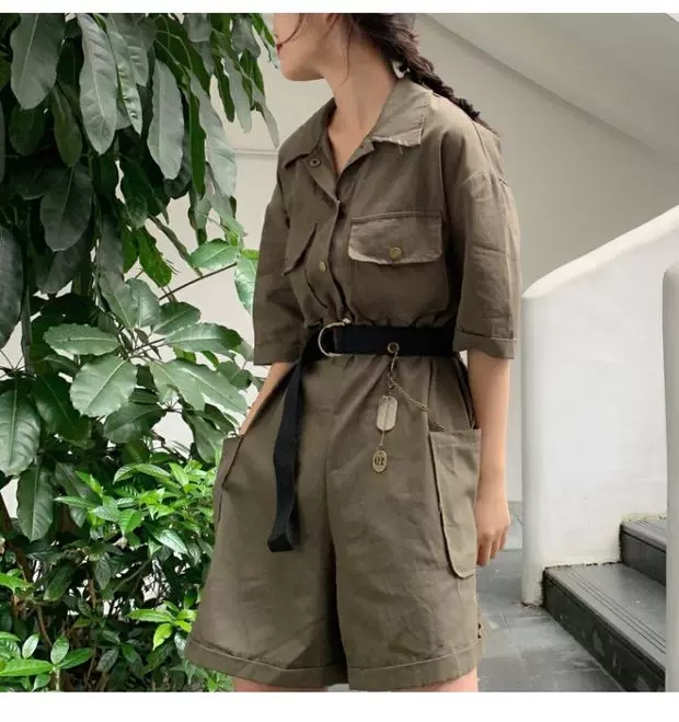 Military Cargo Jumpsuit with Belt (Khaki Green, Grey)