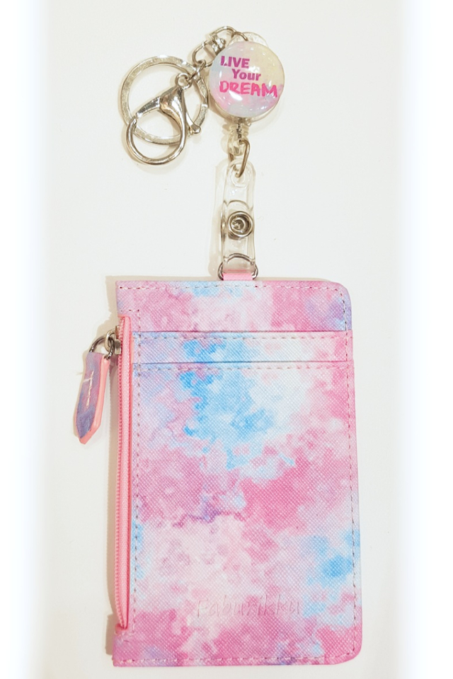 """Live Your Dreams"" Badge Reel with Pastel Watercolour Zip Cardholder Set"