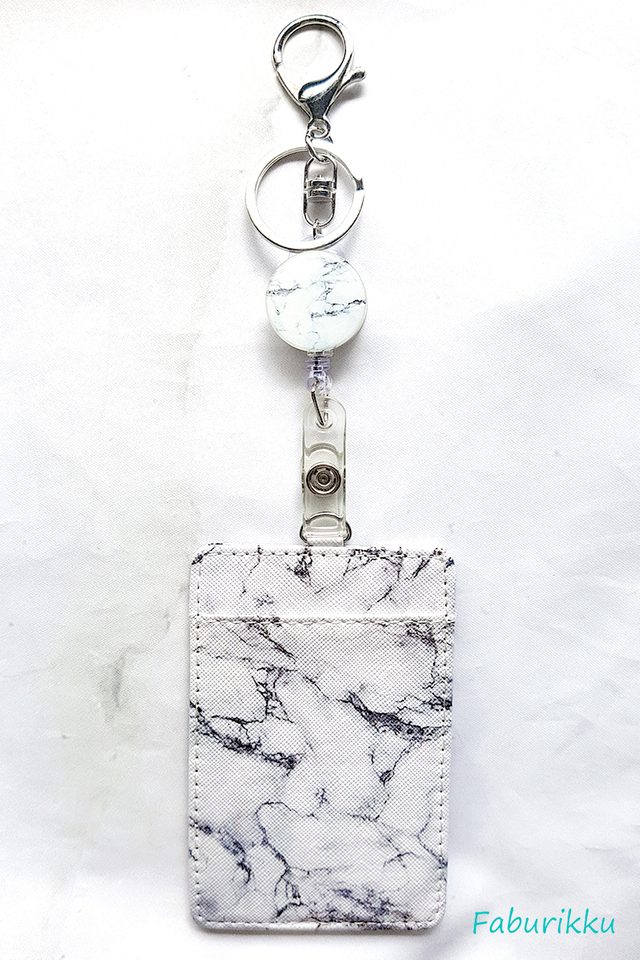 White Marble Hook On Badge Reel with Cardholder Set