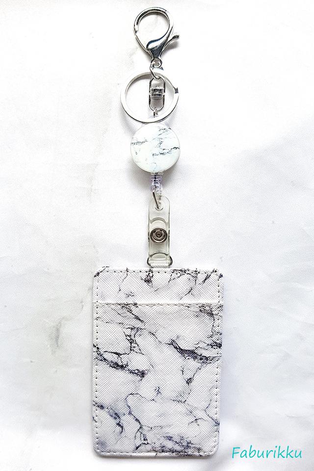 Gift Set White Marble Badge Reel with Cardholder