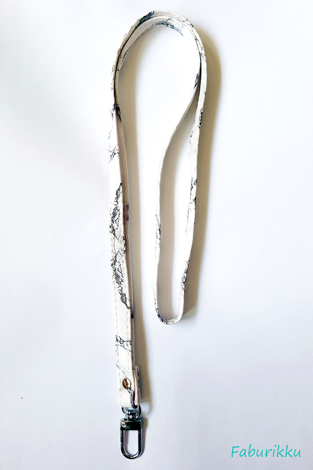 White Marble Side Stitch Deluxe Lanyard