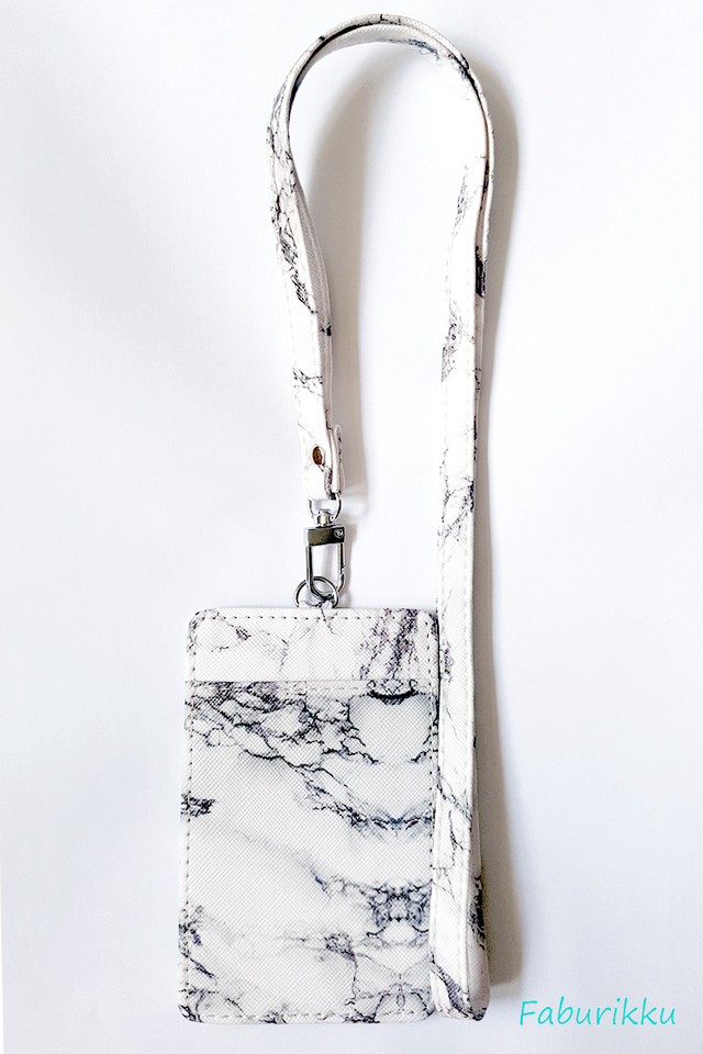 White Marble Portrait  Cardholder With Marble  Lanyard Set