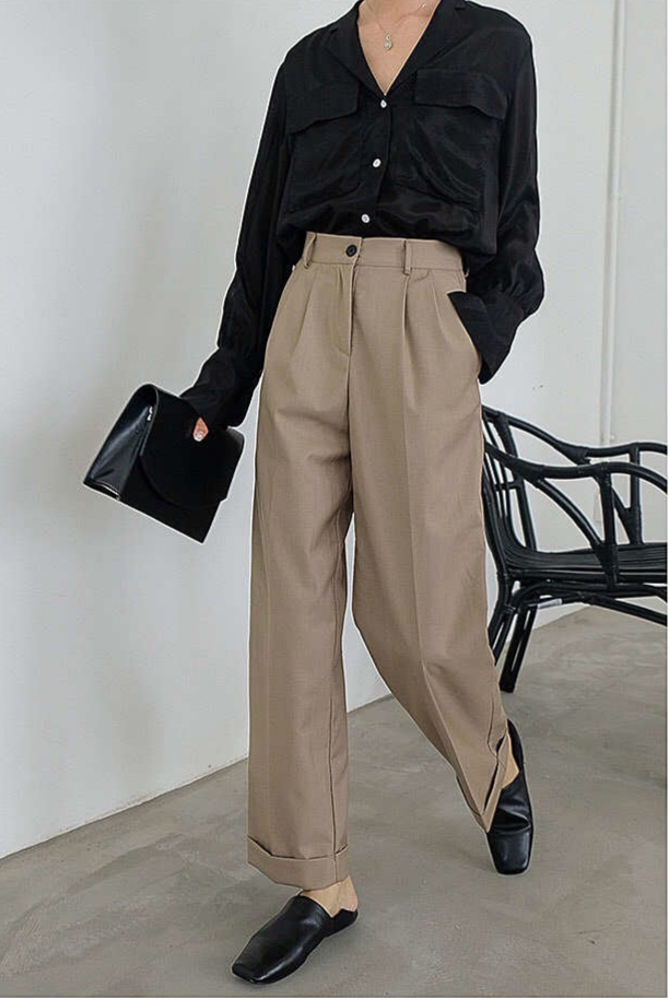 Flare Cuff Hem Pants (5 Colours)