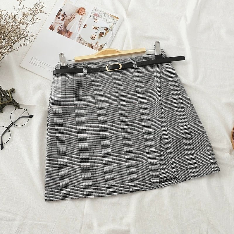 Side Wrap Check Belt Skirt (2 colours)