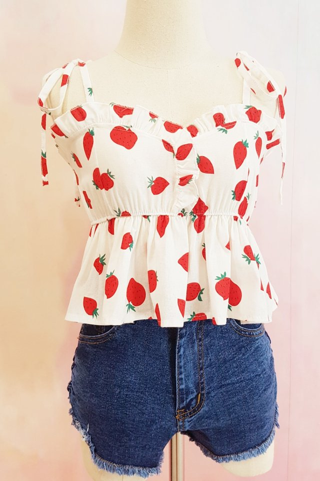 Strawberry Ruffle Heart Top (3 Colours)