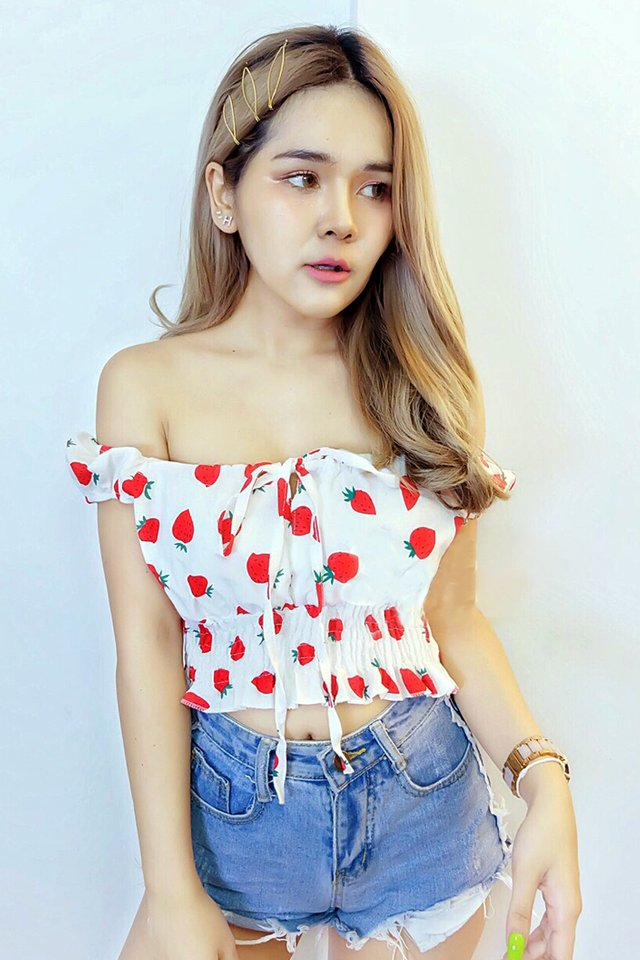 Strawberry Off Shoulder Smock Top (2 Colours)