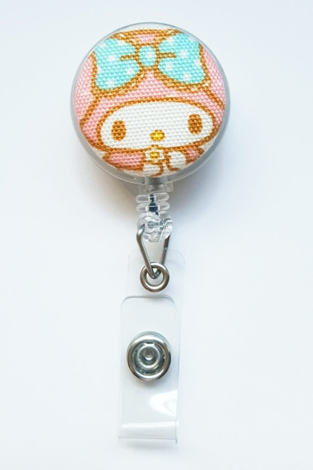 My Melody PastelHead Clip-On Badge Reel