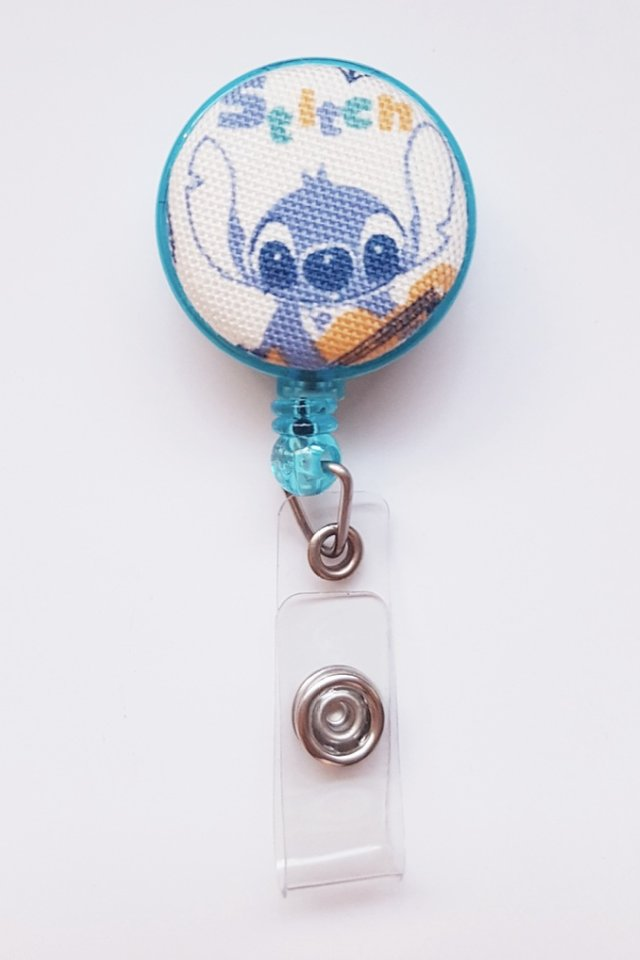Stitch and Guitar Clip-On Badge Reel