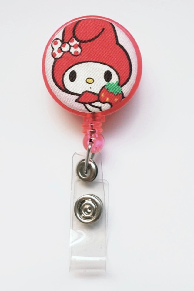 My Melody Red Strawberry Clip-On Badge Reel